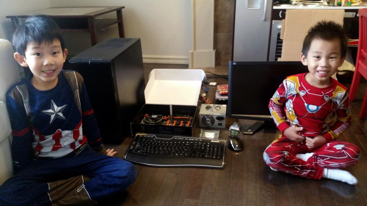 children with computer components
